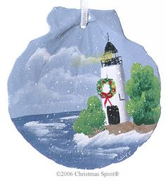Winter Lighthouse on Scallop Shell from the Christmas Spirit® Shop in Bar Harbor Maine Seashell Painting, Seashell Art, Seashell Crafts, Beach Crafts, Driftwood Crafts, Stone Painting, Shell Ornaments, Painted Ornaments, Beach Christmas Ornaments