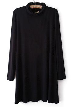Black Stand Collar Long Sleeve Loose Dress US$36.26--Sheinside