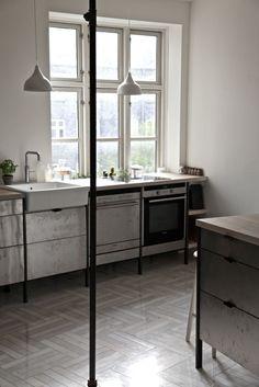 Frama :: Private resident in Copenhagen. Herringbone marble floor.