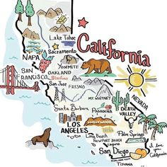 CALIFORNIA Lakes In California, Miss California, Yosemite California, Sacramento California, California Living, Travel Doodles, Pictorial Maps, Desert Dream, San Diego Beach