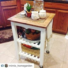 We Love The Personal Touches @mimis_homegarden Added To The BEKVÄM Kitchen  Cart U2013 A Little White Paint U0026 Some Wood Stain Made The Piece Totally Unique  For ...