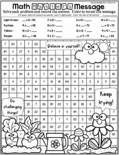 Spring Mystery Pictures - Multiplication and Division Multiplication And Division, Spring Colors, Coloring Pages, Have Fun, Mystery, Clip Art, Coding, Messages, Number