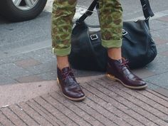 Gold & Camo  Marc Jacobs shoes  and camo pants on the corner of Lafayette and Spring Street NYC