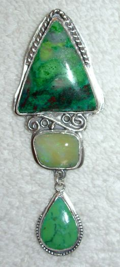 Chelle' Rawlsky parrotwing jasper, opal, turquoise, sterling silver pendant OOAK now available for sale in Ebay under annipearls