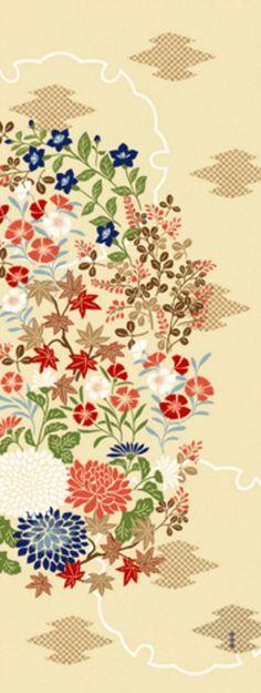 Japanische Tenugui Handtuch Baumwollstoff Herbst Blume