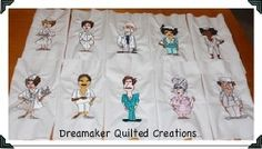 Loralie Happy Nurses Quilt Block Machine Embroidery Squares. $40.00, via Etsy.