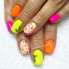 Polished Pinkies Utah: NEON!!! Neon nails are all the rage for summer! Pair pink, orange and yellow together to create the HOTTEST nails on the block! Neon polkadots tie it all together in a whimsical way. Gel nails, gel polish, neon nails, summer nails, shellac, Lecente neon nail shadows, fun nail art.