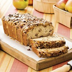 Praline-Apple Bread | Praline-Apple Bread is decadent enough to serve as dessert. Sour cream is the secret to the rich, moist texture of this bread. There's no butter or oil in the batter―only in the glaze. | SouthernLiving.com