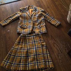 """Vintage suit! Gorgeous plaid wool. Pleated skirt excellent condition  brass buttons.   Falls above the knee. I am 5 4"""".  One of a kind Vintage  Other"""
