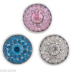 3PC Regular Mixed Snap Buttons Tibetan Silver Tone Crystal Round Jewelry DIY