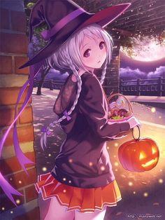 HAPPY HALLOWEEN~~★anime art. . .witch girl. . .halloween costume. . .trick or treat. . .pumpkin. . .jack o lantern. . .candy. . .witch hat. . .long hair. . .silver hair. . .braids. . .pleated skirt. . .cute. . .kawaii