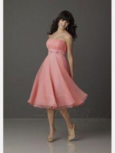 Didobridal.com: Stunning A-line Strapless Tea-length Chiffon Bridesmaid Dress with Shirring and Beading
