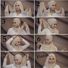 This is a very classy and gorgeous hijab look mainly for special occasions it looks flowing Simple and you can wear all your types of necklaces with this hijab style. You will need a ninja scarf for this look Its easy fashion high-heel shoes for women Tutorial Hijab Pesta, Hijab Style Tutorial, Hijab Mode Inspiration, Turban Hijab, Stylish Hijab, Hijab Chic, Islamic Fashion, Muslim Fashion, Abaya Fashion