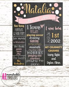 Quinceanera Chalkboard, Pink and Gold Glitter Chalkboard, Birthday Poster, Quinceanera, Personalized Milestones by ALMemorableCreations on Etsy Ron Pope, Movies Playing, Birthday Chalkboard, 15th Birthday, Quinceanera, Gold Glitter, Harry Styles, Pink And Gold, Musicals