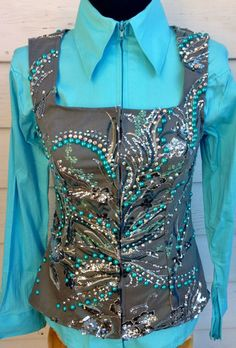 Aqua & Grey Loaded Show Vest – The Bling Boutique