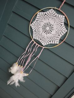 Handmade Doily Dreamcatcher $33  #inspiration #dreams #grandma #unique #Everything Else #dreamcatcher #dream catcher #white #crochet #doily #floral #soft #love #big #hippie #pink #wood #feathers