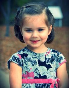 little girl hairstyle for short hair - bob with one braid