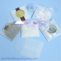 These translucent glassine envelopes are perfect for fast and easy wedding favors.  Fill with flower petals, seeds, candy, almonds, tossing rice, bath salts, lavender, or a tea bag, etc.