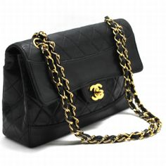 AUTHENTIC CHANEL CHAIN SHOULDER BAG LEATHER BLACK FLAP QUILTED LAMBSKIN PURSE 270