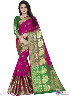 Sarees New stylish Woven Banarasi Silk Saree Saree Fabric: Banarasi Silk Blouse: Running Blouse Blouse Fabric: Cotton Silk Pattern: Zari Woven Multipack: Single Sizes:  Free Size (Saree with runing blouse length:6.3m)  Country of Origin: India Sizes Available: Free Size   Catalog Rating: ★4.1 (463)  Catalog Name: Adrika Pretty Sarees CatalogID_1408263 C74-SC1004 Code: 194-8386382-998