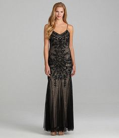 Adrianna Papell Embellished Mesh Lace Gown