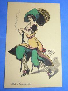 F LAFON Comic Glamour Postcard 1910s Suffragette Harem Skirt Lady Smoking Theme