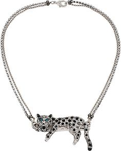 WHITEOUT CRYSTAL SNOW LEOPARD PENDENT NECKLACE