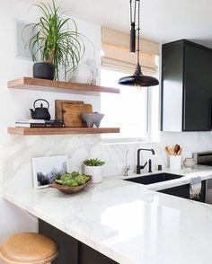 """Black + white + wood #ideas #interiordesign #architecture #kitchen #countertop #love #neutrals"""