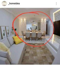 Parede da sala de jantar com espelho Kitchen Room Design, Home Room Design, Dining Room Design, Interior Design Living Room, Interior Decorating, House Design, Home Living Room, Living Room Decor, Dining Room Walls
