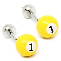Classic biliiard number one yellow cufflilnks