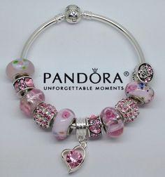 New Release Sterling Authentic Pandora Bangle Bracelet W Beads Charm Pink Love Ebay