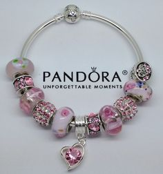 NEW Release Sterling Authentic Pandora Bangle Bracelet W Beads Charm Pink Love | eBay