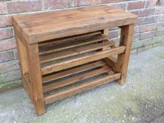 Rustic Shoe Rack With Seat, Wooden Shoe Storage, Pine Shoe Shelf, Holds 6-9…