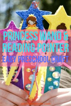 Once story time is over, your kids will love using their easy DIY reading pointer as a princess wand. One simple craft, hours of fun. What could be better? Easy Preschool Crafts, Preschool Learning, Toddler Preschool, Fun Learning, Easy Crafts, Easy Diy, Diy Projects For Kids, Diy For Kids, Crafts For Kids