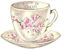 vintage tea cup greeting card