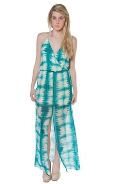Rory Beca Hess Drape Wrap Front Gown in Lily at Social Dress Shop