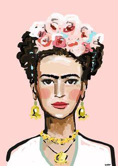 Frida rosa varios tamaños Marca de agua no aparecerá en tu impresión. IMPRESIÓN de la pintura original por Maren Devine. Tintas brillantes de calidad en peso medio papel mate. Blanca frontera por todos los lados. Calidad y hermoso color se imprime en papel mate premium.