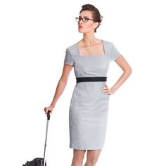 Lindsay Grey Business Dress by NOOSHIN (Savile Row) £319 Browse the full collection http://www.pinstripeandpearls.com/women/brands/nooshin