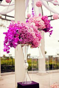 pinks & purple wedding flowers, pretty!
