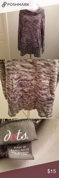 Dots 3x Black and Gray Cowl Neck Sweater w/ pocket Condition: Excellent Used Condition Brand: Dots Color: Black and Gray Size: 3x  Adorable black and gray cowl neck sweater with front pocket by Dots. Wear with a pair of leggings and boots for a cute fall look!  Smoke Free Home. Dots Sweaters Cowl & Turtlenecks