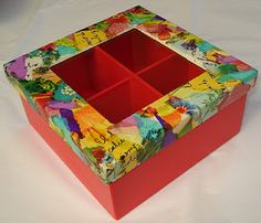 Caja de Te Jewelry Box Makeover, Painted Wooden Boxes, Tea Box, Diy Cardboard, Pretty Box, Altered Boxes, Painted Furniture, Retro, Diy And Crafts