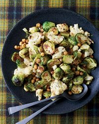 Jerk-Spiced Brussels Sprouts, Cauliflower and Chickpeas Recipe on Food & Wine... Nice blend of spices in this dish!