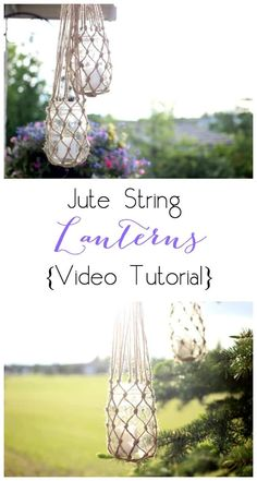 Jute String Lanterns The perfect DIY outdoor decor for a summer party on the patio! All you need is jute string and mason jars! String Lanterns, Jar Lanterns, Hanging Lanterns, Jute, Mason Jar Hanger, Hanging Mason Jars, Macrame Plant Hangers, Macrame Projects, Mason Jar Crafts