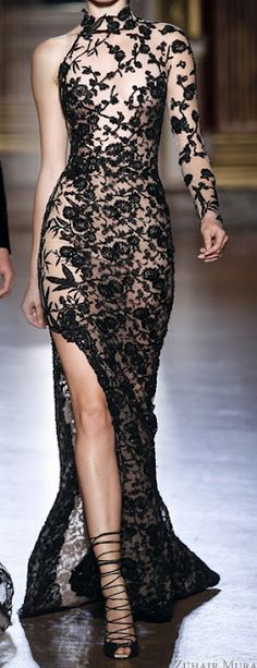 Zuhair Murad long black sheer see through flocked lace thigh high slit dress gown fitted embellished one shoulder long sleeve flowing