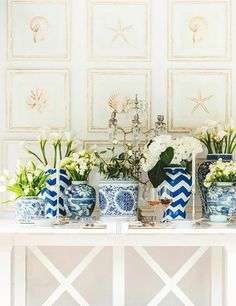 blue and white vases on this amazing console table--Stuart Membery Home -