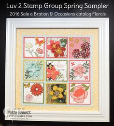"""I participated in another 3""""x3"""" swap with my Luv 2 Stamp group - super talented and amazing demonstrators - and wanted to share my framed Occasions Catalog spring sampler with you!!    Each of us"""