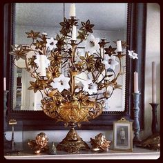 RARE Antique French Church Candelabra with Gilt/Porcelain flowers – The Vintage Home Shop