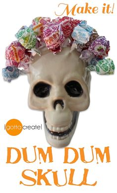 What a hairdo! Transform that dollar plastic skull to hold your treats for Halloween.   Instructions at I Gotta Create!