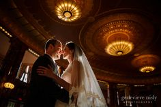 Bride and Groom portraits at Severance Hall for their Cleveland Wedding, Copyright Genevieve Nisly Photography