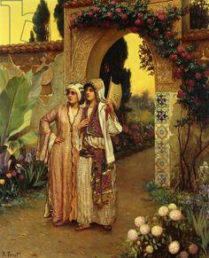 :::: ♤ ✿⊱╮☼ ☾ PINTEREST.COM christiancross ☀❤•♥•*[†] ::::In the Garden of the Harem by Rudolph Ernst